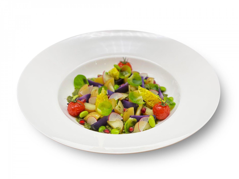 Aardappel Vegan Pesto salade met geroosterde tomaat, radijs, spruitblad, edamame boontjes en granaatappel