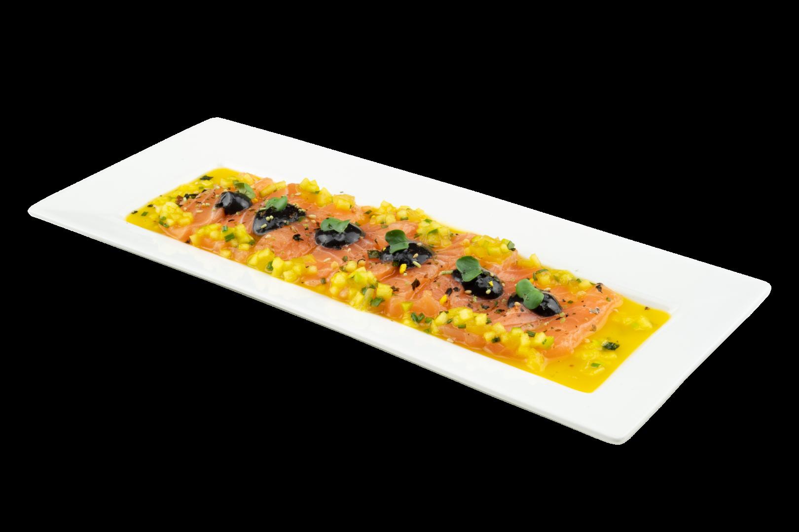 Ceviche van zalm met een marinade op basis van Maître Cuisine Glace de Crustacé