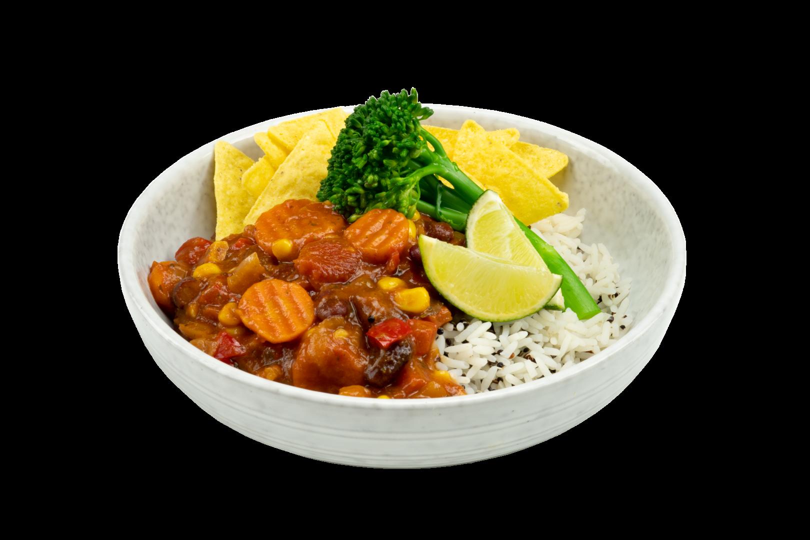 Chili Sin Carne met rijst en Bimi