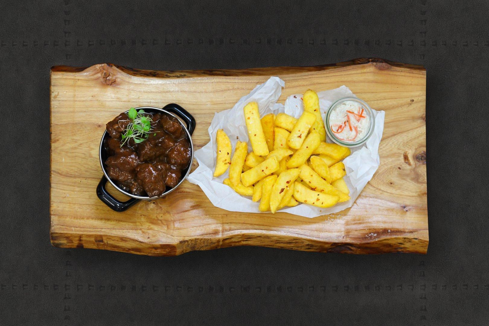 Frites met stoofvlees