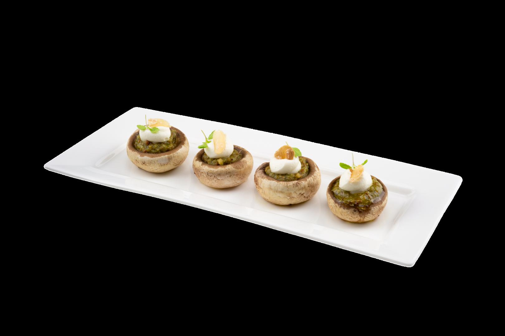 Gevulde champignon met Lisimo Noten Pesto en een crème van ricotta