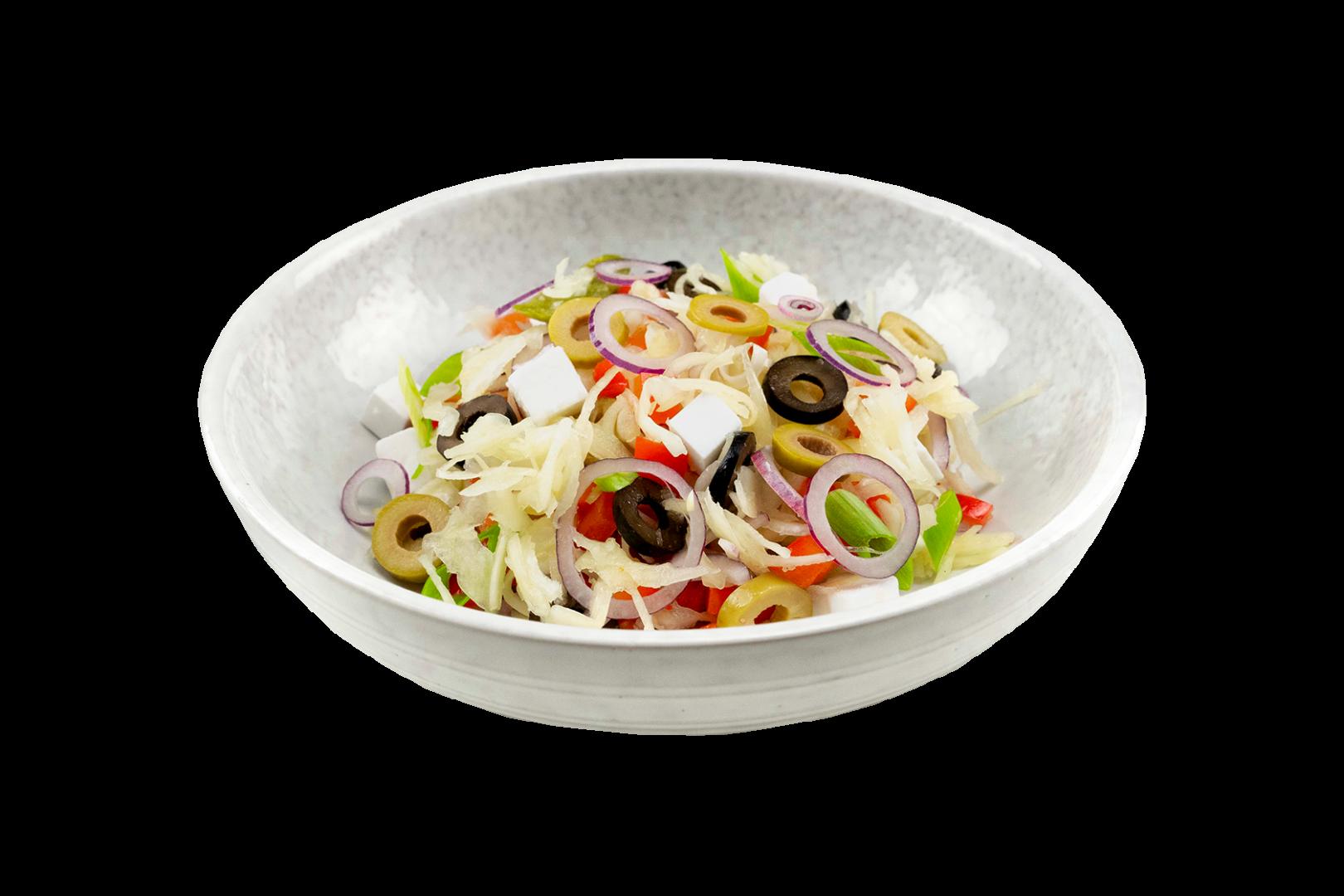 Griekse witte kool salade met olijven en Violife fetakaas