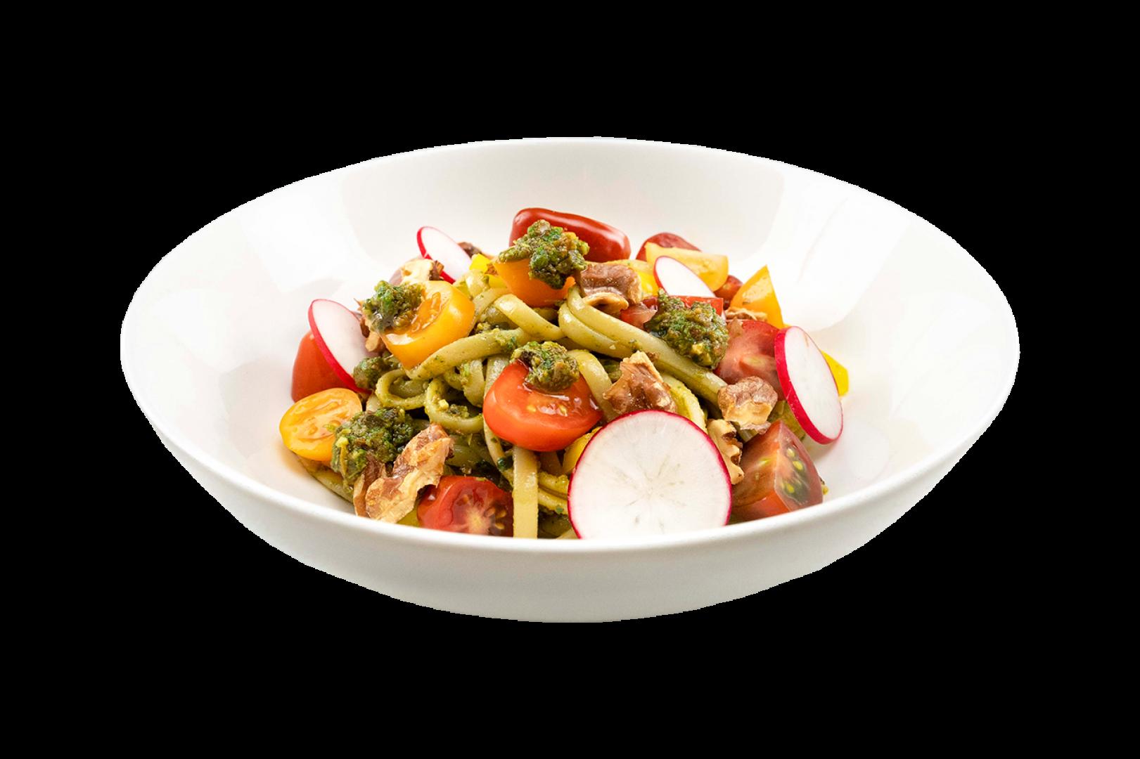 Linguine met tricolore tapenade, limoen pesto en groenten