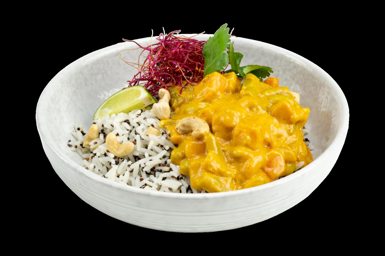 Rijst met Neven Food Gele Curry en geroosterde cashewnoten